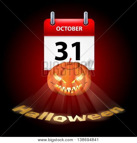 Halloween concept with shining spooky pumpkin and calendar on 31th of October