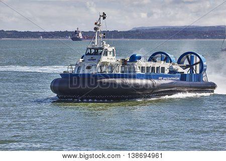Portsmouth UK, July 2016. Portsmouth to Ryde Hovercraft