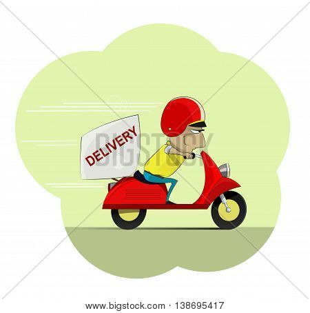 Fun cartoon courier rides on scooter. Delivery concept vector illustration. Layered and easy to edit.