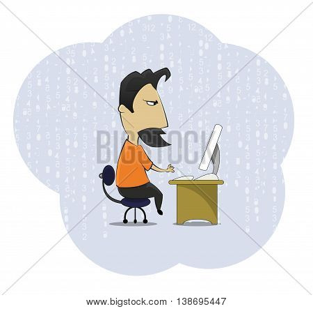 Cartoon middle age work addict geek sitting at the computer desk. Cartoon style vector illustration on abstract background.