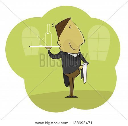 Illustration of cartoon male waiter carrying tray with glass of wine. Vector layered illustration