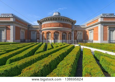 MADRID, SPAIN - NOVEMBER 18, 2014: The Prado Museum rear garden. Established in 1819, the museum is considered the best collection of Spanish art and one of the finest collections of European art.