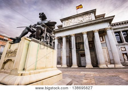 MADRID, SPAIN - NOVEMBER 18, 2014: The Prado Museum facade. Established in 1819, the museum is considered the best collection of Spanish art and one of the world's finest collections of European art.