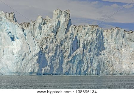 Ice Front of the Tidal Columbia Glacier In Alaska