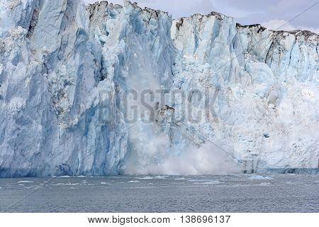 Calving Ice on the Tidal Columbia Glacier in Alaska