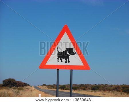 Funny roadsign in Namibia: warning, Warthog crossing