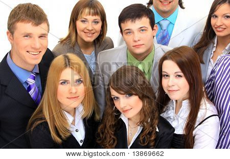 Top view of a group of business people