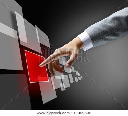 la mano en el flujo de botón varios