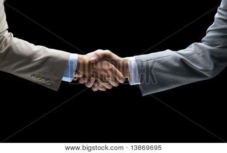 Handdruk - Hand hebt op zwarte achtergrond