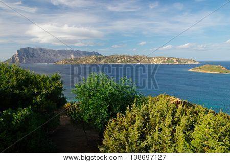 Tavolara and Molara island seen from the coast of Sardinia at Capo Coda Cavallo