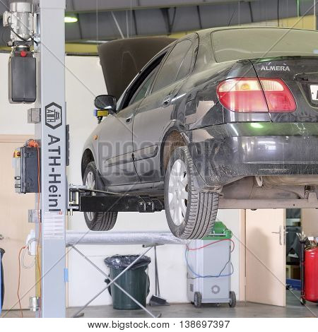Serpuhov, Russia, June, 23, 2015: Cars in a dealer repair station in Serpuhov, Russia