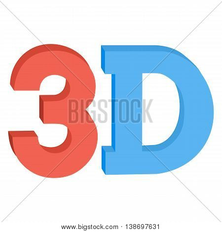 3D three-dimensional button sign in solid red and blue colors icon isolated on background. Vector illustration.