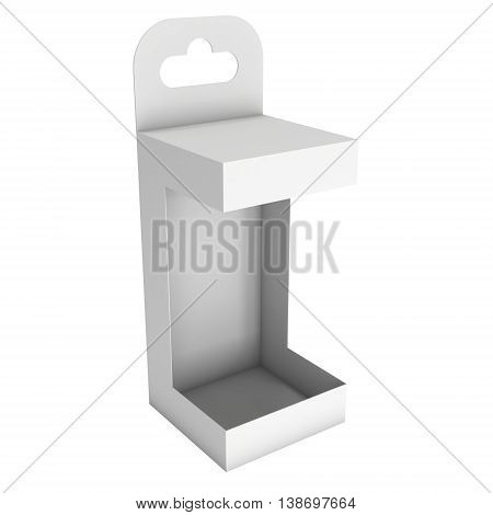White paper open hanging box. Packaging container with hanging hole. Mock up template. 3d render isolated on white background.