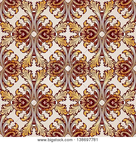 Very saturated seamless golden abstract floral pattern