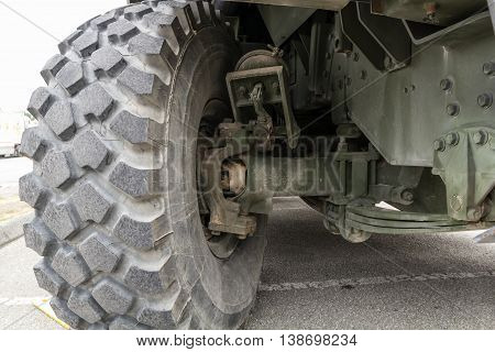 Front of heavy duty military truck with tier