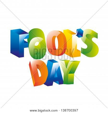 fools day icon color letters vector illustration