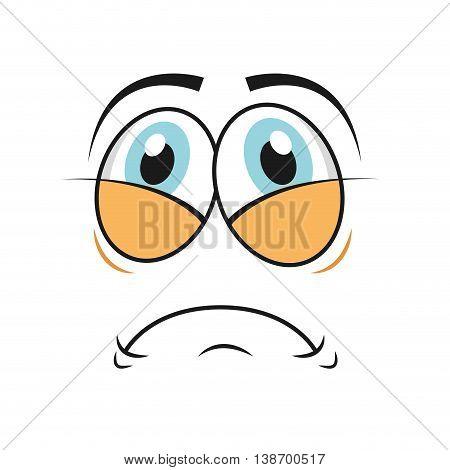 tired cartoon face icon, vector illustation character