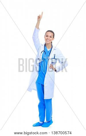 A portrait of a female doctor pointing isolated on white background