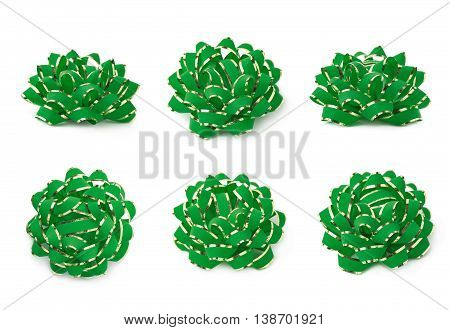 Decorational green ribbon gift bow isolated over the white background, set collection of six diffirent foreshortenings
