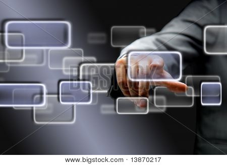 the hand on the flow of several button
