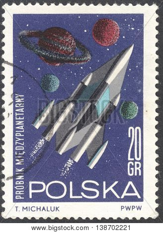 MOSCOW RUSSIA - JANUARY 2016: a post stamp printed in POLAND shows a future interplanetary spacecraft the series