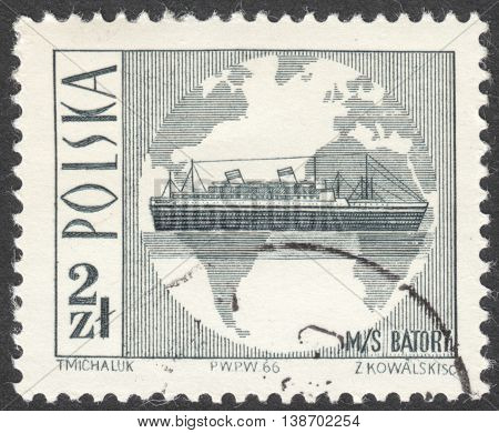 MOSCOW RUSSIA - CIRCA JANUARY 2016: a post stamp printed in POLAND shows M/S Batory the series