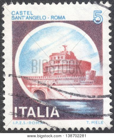 MOSCOW RUSSIA - CIRCA JANUARY 2016: a post stamp printed in ITALY shows a view on a castle Sant'Angelo Roma the series