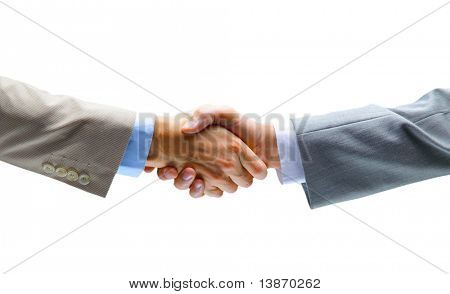 Handshake, isolated on white background