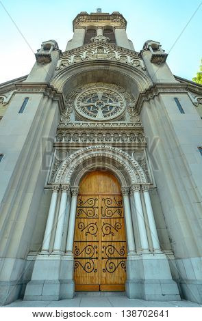 Church Entrance With Wooden Door