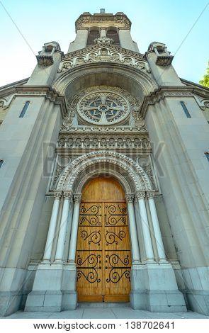 Church Entrance With Wooden Door