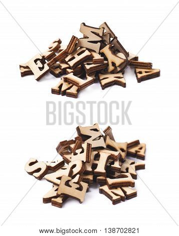 Pile of wooden letters isolated over the white background, set of two different foreshortenings