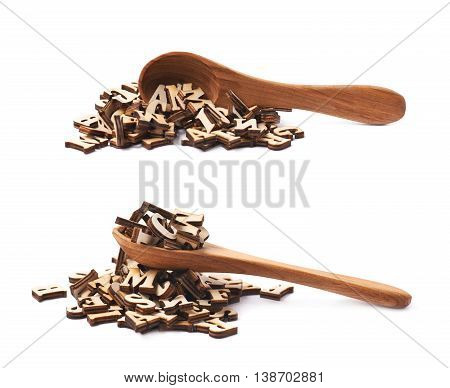Pile of wooden letters with a wooden cooking spoon over it, composition isolated over the white background, set of two different foreshortenings