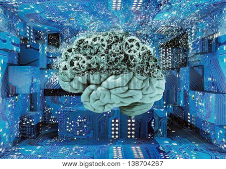 organic brain dissolved and exposing mechanical brain