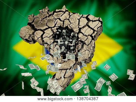 dollar bills being expelled from the map of Brazil with Brazil flag in the background