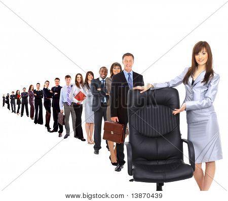 zeitgenössische Büro-Stuhl und geschäftsfrau
