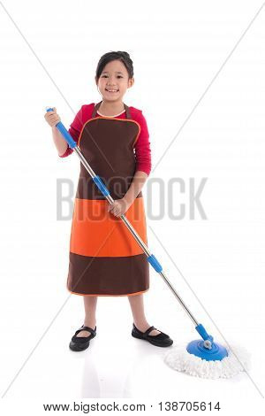 Portrait of beautiful asian girl cleaning with mop on white background isolated
