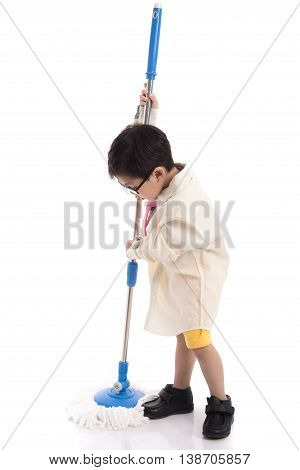 Little asian child pretending to be unemployed man on white background isolated