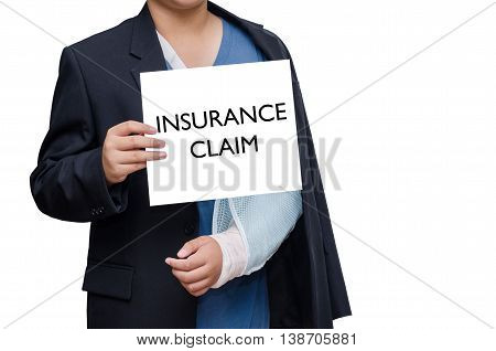 businessman with broken hand and card with text