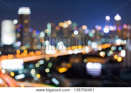 Blurred lights night view, city downtown, abstract background