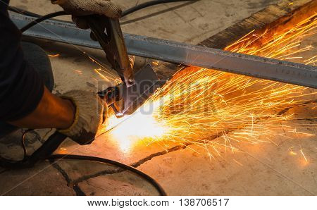 Manual Plasma Cutting Machine in Manufacturing Industry - Conditions Hazardous Working.