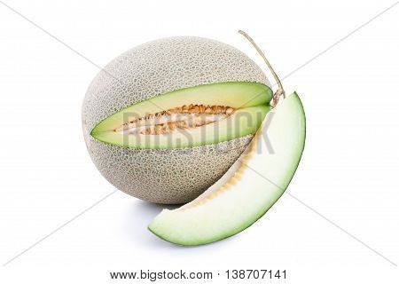 Green Melon Fruit Isolated On White Background.