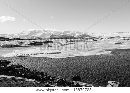 Black and White, Iceland winter lagoon, natural landscape background