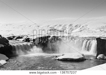 Black and White, Winter waterfall Iceland natural landscape