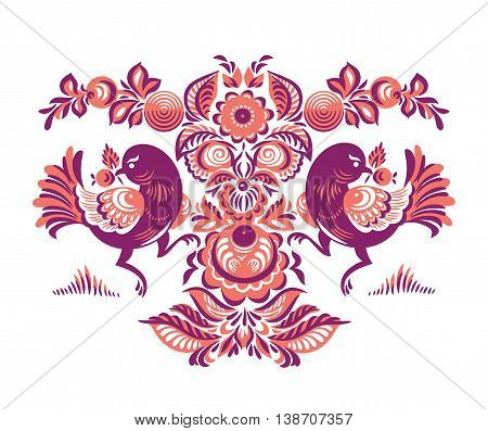 Folk Gorodets print in Russian Style. A floral pattern with two birds. Traditional vector art in red colors