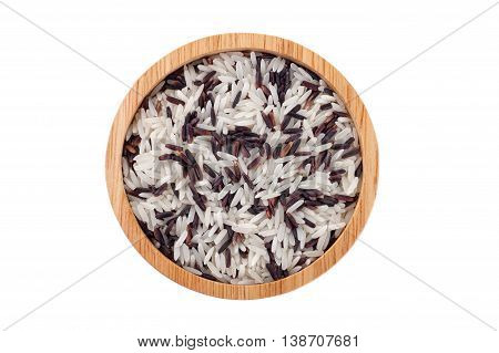 Mix basmati rice and rice berry in wood bowl
