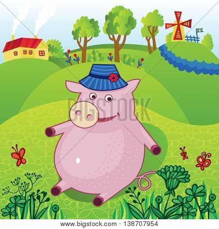 Cartoon pig in a hat sits on the background of a country landscape with a mill