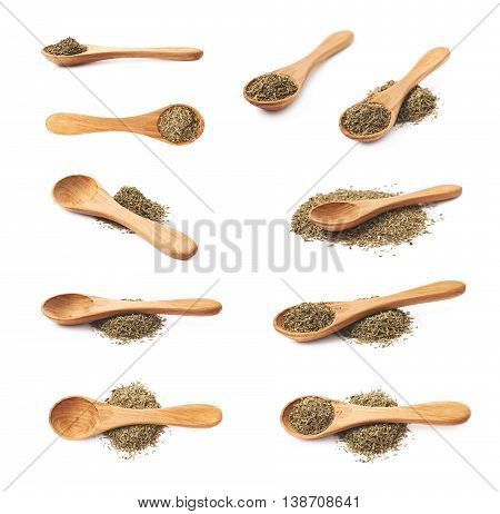 Spoon full of dried thyme seasoning isolated over the white background, set of multiple different foreshortenings