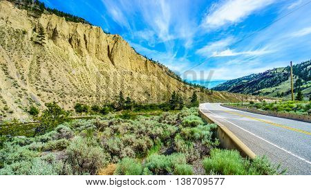 Hoodoos along the Nicola River and Highway 8 between Merritt and Spences Bridge in British Columbia, Canada