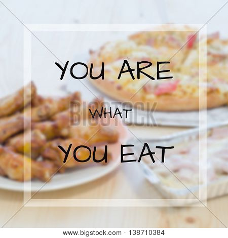 Quote on blur food background