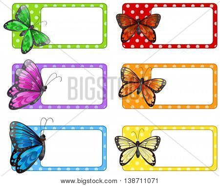 Lable design with colorful butterflies illustration